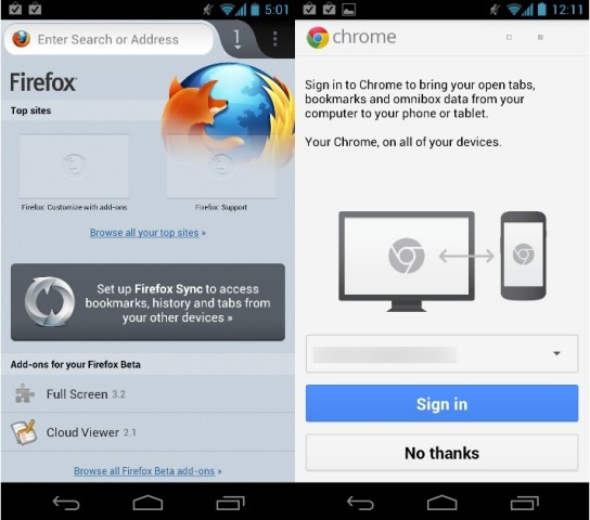 android firefox vs chrome